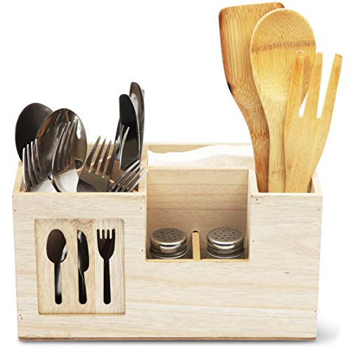 Wooden Utensil Caddy, Cutlery Holder for Kitchen Supplies (11 x 4.8 x 6 Inches)
