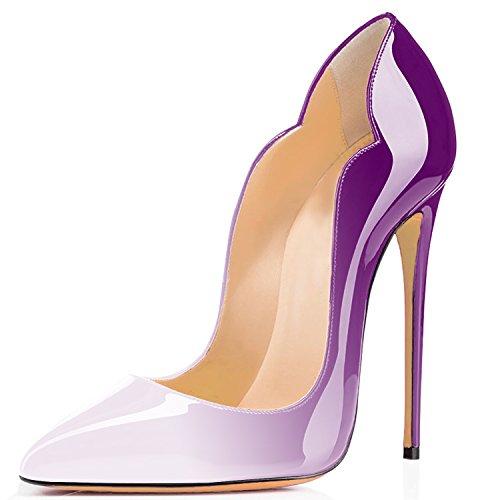 Talon Chaussures Rouge Grande Soles Taille Stiletto Laçage Femmes Violet A Aiguille Ubeauty Escarpins x1wgYY
