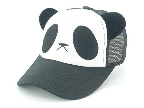 Oidon Summer Panda Cartoon Head Low Profile Flex Fit Baseball Shadow Mesh Cap (Adult 56-61cm 22.8-24.0inch, Black) -