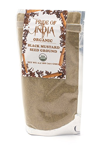 Pride Of India - Organic Black Mustard Seed Ground, Half Pound