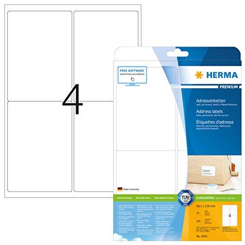 HERMA Premium A4 99.1x139mm Paper Matt Address Labels - White (Pack of 100)