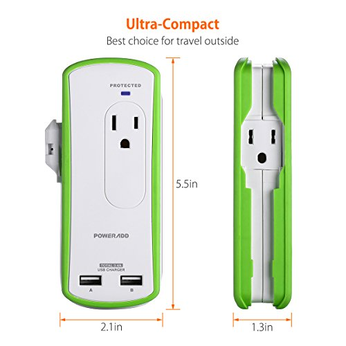 Poweradd 2-Outlet Mini Portable Travel Surge Protector with Dual 3.4A Smart USB Ports, Wrapped Cord Design - UL Listed by POWERADD (Image #2)