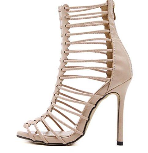 LINYI WOMEN Stiletto Heels Open Toe Heel Zipper Fine Sandals Gladiator Boots Beige SDZ5F4Lx3z