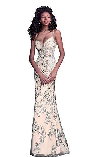(Jovani JVN62330 Embroidered Deep V-Neck Trumpet Dress in Black & Nude)