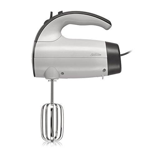 (Sunbeam 2525 220-Watt 6-Speed Retractable Cord Hand Mixer, White/Grey - 002525-000-000)