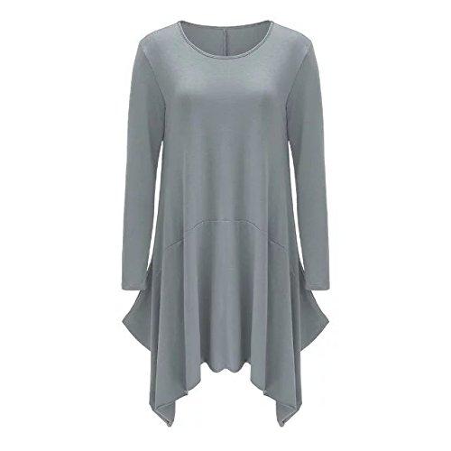 Pockets TM Casual BetterGirl Sleeve Gray Irregular Womens Dress Loose Long Hem qPBwSdAwIc