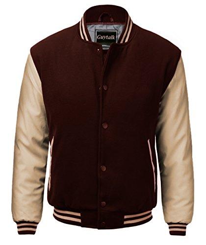Guytalk Men's Letterman Style Premium Thick Fabric Varsity Baseball Jacket Medium BROWNKHAKI by Guytalk