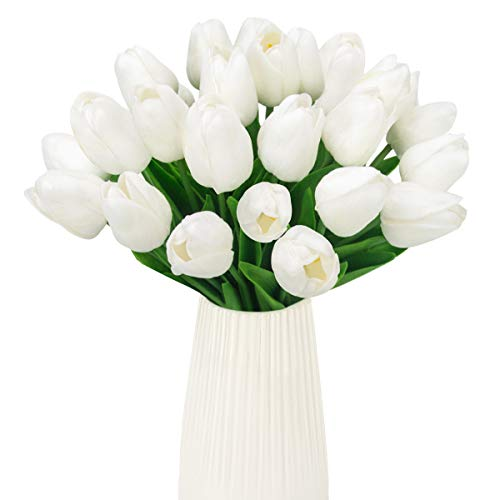 (Artificial Tulip 24 Pcs Bulk Fake Holland Mini Tulip Latex-Look Like Real Touch Flowers Eco-Friendly for Wedding Decor DIY Home Party Decoration Cream)