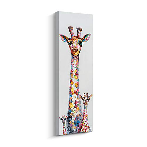 Pigort Abstract Animal Canvas Wall Art - Curious Colourful Giraffe Mother and Her Children - Wall Decor Painting for Living Room