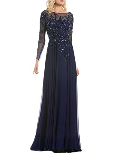 OYISHA Womens Scoop Neck Beaded Evening Dresses Chiffon Formal Gowns Long EV115 Navy Blue (Beaded Chiffon Gown)