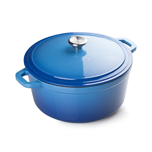 FortheChef 7 Quart Porcelain Enameled Cast Iron Round Dutch Oven, Blue