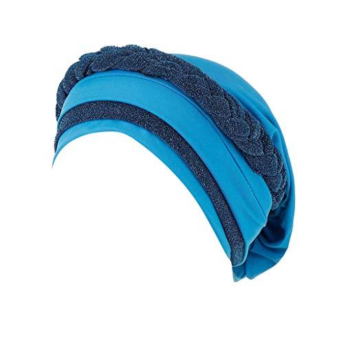 CMrtew Women Summer Stretch Muslim Frontal Cross Bonnet Hijab Turban Hat Chemo Cap Head Scarf Headwrap (Sky Blue)
