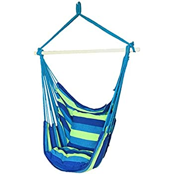 hanging hammock chair outdoor with arc stand air porch swing blue rope seat sky cushions any indoor spaces max lbs