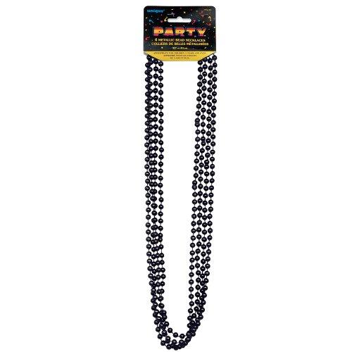 Metallic Black Mardi Gras Beads, 4ct