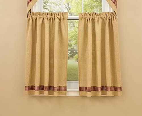 Park Designs Burlap and Check Tiers, 72 x 36, Red