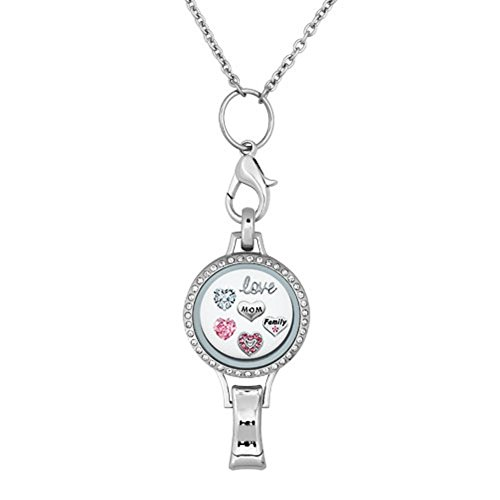 Q&Locket RN Love Family Christmas Tree Snowflake Floating Charms In Glass Locket Lanyard Necklace ID Badge Holder (Love Mom)