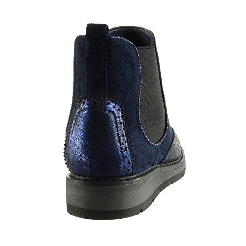 Shoes Booty Platform Topstitching Bi Perforated 3 Angkorly Shiny Chelsea Finish Fashion Ankle Women's Boots Material Blue Seams Boots Wedge cm OwwXvEq