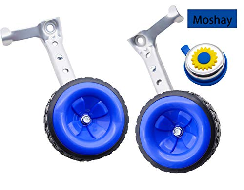 MOSHAY Bicycle Training Wheels Fits 16 18 20 22 24 inch Kids Variable Bike (D-Blue) ()