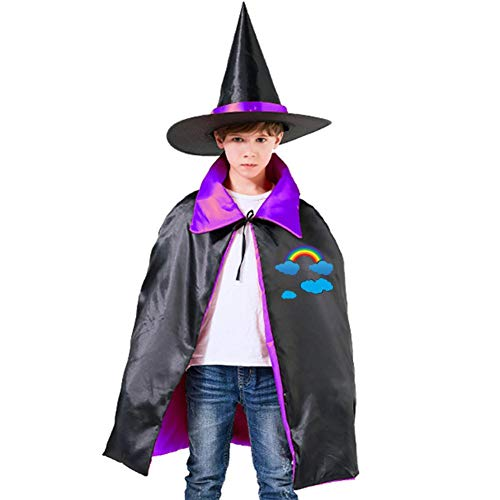Kids Cloak Rainbow Cartoon Clouds Wizard Witch Cap Hat Cape DIY Costume Dress-up For Halloween Party Boys Girls