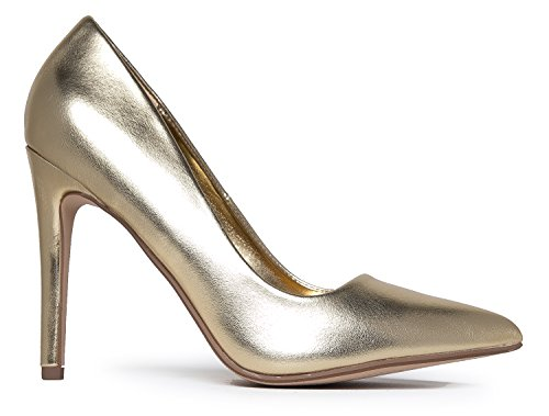 Pointed J Work Slip Closed Adams Gold Pu Pumps Metallic On Heel Classic Kiera High Toe Pumps Pwaq0Yw