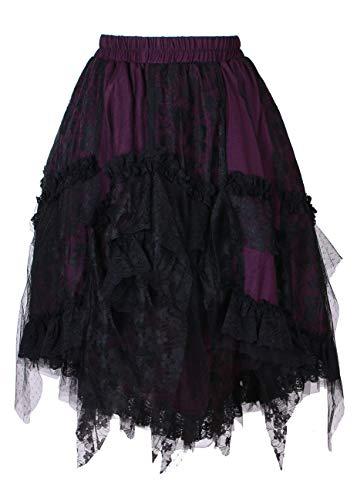 Violette Gothique Noir Froufrous en Dentelle Jupe Victorien Noire 8qOd8