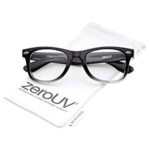 zeroUV - Classic Thick Square Clear Lens Horn Rimmed Eyeglasses 50mm (Black-Fade / Clear)