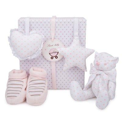 Set Regalo Osito BebeDeParis en Rosa - caja con patucos, osito y colgantes para decorar la habitación del bebé- 100% algodón