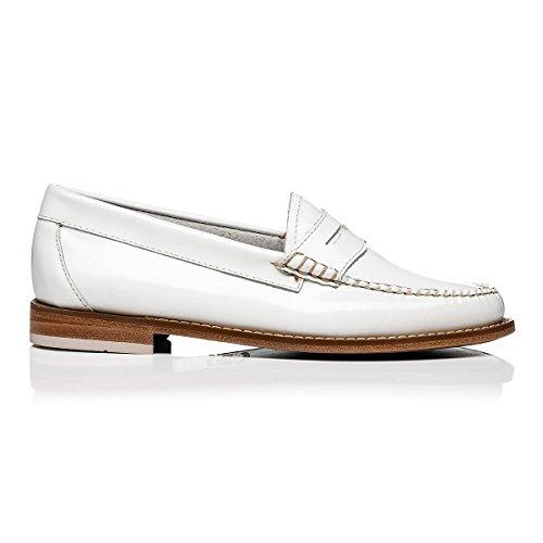 Dames Gh Bureau En Cuir Mocassin De Weejuns Bass Penny Travailler Officiellement En Cuir Blanc De Chaussures