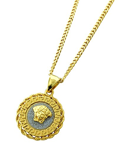 Exo Jewel Gold Stainless Steel Medusa Head Small Medallion Pendant Necklace with 24