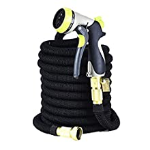 GreenFriendlyHome 2019 50ft Expandable Garden Hose, Flexible Expanding Water Hose, Strongest Double Latex Core and Fabric, Solid Brass Fittings, Metal Nozzle, Best Portable Compact Retractable Hose
