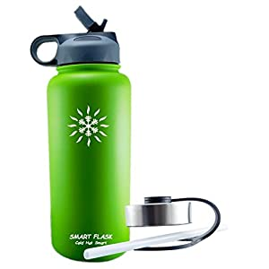 Smart Flask, Stainless Steel Vacuum Insulated water bottle, Includes Straw Lid and Stainless Steel Lid, 32 Oz., (lime)