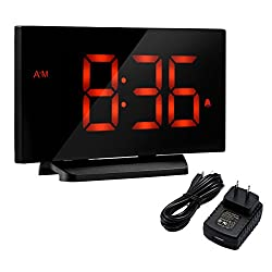 Digital Alarm Clock, Atmoko 5'' LED Display Clock with Curved-screen and Dimmer, Snooze Function, 3 Adjustable Alarm Sounds, Bedside Alarm Clock for Bedroom, Kitchen, Office-Orange