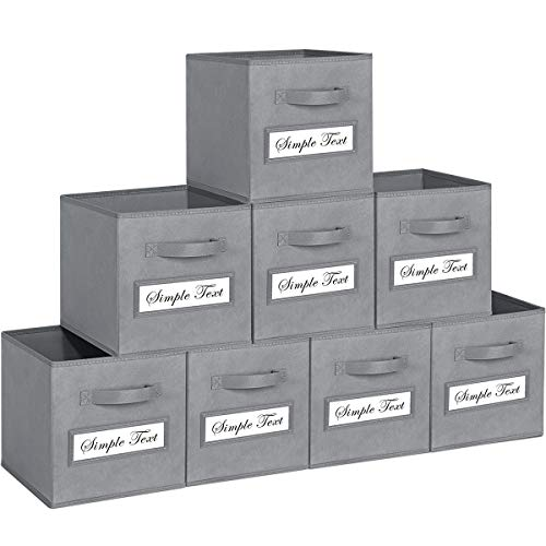 TomCare 8-Pack Storage Cubes Foldable Fabric Cube Storage Bins with 10 Label Window Cards Cloth Cube Organizer Bins Storage Baskets Containers for Shelves Closet Organizers Cubby Cube Storage (Grey)