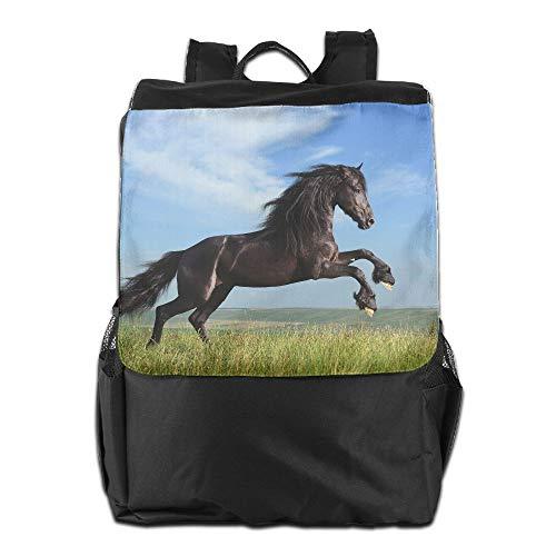 Rape Flower Horse Jump Unisex Casual Shoulders Backpacks