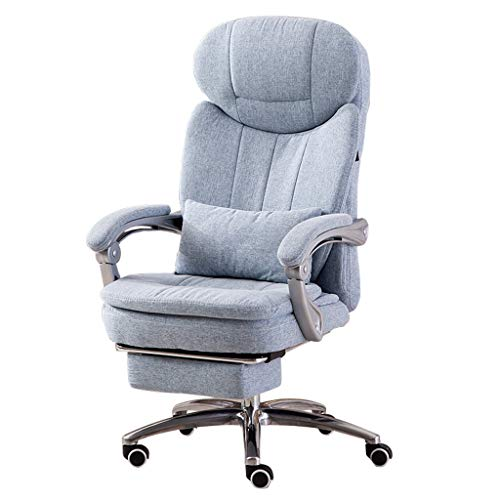 (Big Headrest Executive Office Chairs | High-Back Desk Chair for Home/Office | Linen Fabric Stool | Reclining System and Linkage)