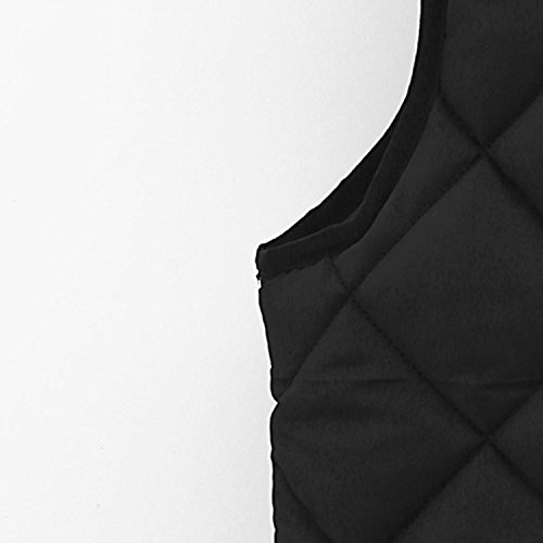 Capa Cuadros Chalecos Bolsillo Mangas Sin Elegantes Grandes Tallas Outcoat Invierno Mangas Negro Dama Cremallera Casual Sin Otoño Cálido Moda A Acolchados Mujeres Chaquetas Negro Coat Abrigos 6qw6YC