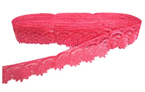 Yuktha Eternals Peach Lace Ribbon Floral Lace Trim for Decoration, Wedding Cards, Invitation, Hair, Bow, Gift Wrapping - (17.4 Yards x 1.5'')