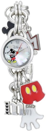 Disney Women's MK2066 Mickey Mouse Charm Watch with Mother of Pearl (Disney Mickey Mouse Watch)