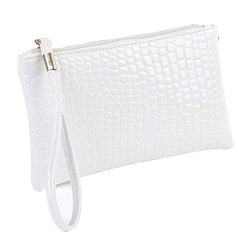- HYSGM Women Wallet, Fashion Crocodile Leather Patterned Clutch Handbag Bag Coin Purse for Lady Girls (White)