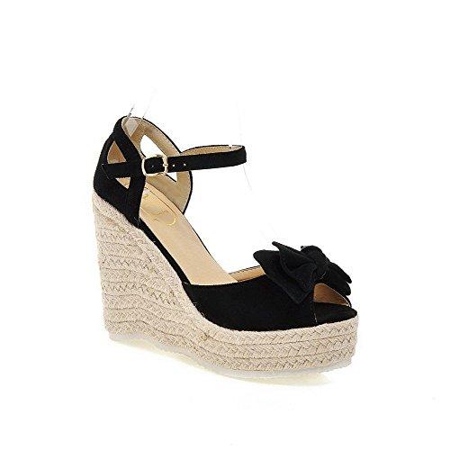 AllhqFashion Women's Imitated Suede Solid Buckle Peep Toe High-Heels Sandals Black AmjWJsMh
