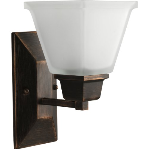 [Progress Lighting P2733-74 1-Light Bath Fixture with Square Etched Glass and Can Mount Up or Down, Venetian Bronze] (Single Bath Sconce)