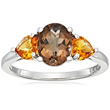 Sterling Silver Smokey Quartz and Citrine 3-Stone Ring, Size 8