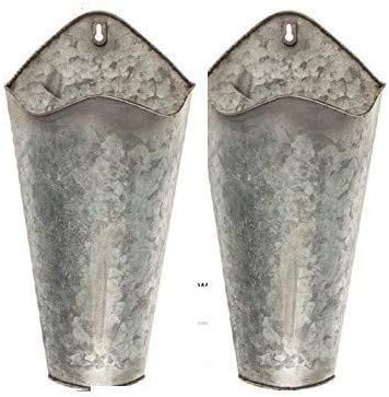 Farmhouse Style Hanging Wall Vase Planters 2 for Succulents or Herbs – Beautiful Wall Decor for Air Plants, Faux Plants, Cacti, Sunflowers Galvanized Original Version