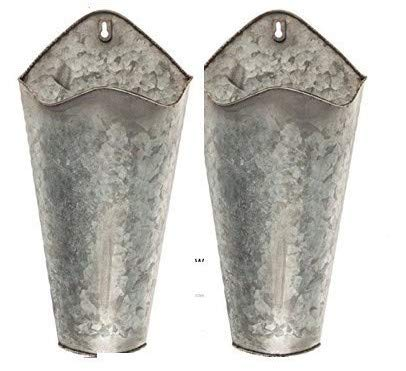 Galvanized Flower - Farmhouse Style Hanging Wall Vase Planters (2) for Succulents or Herbs - Beautiful Wall Decor for Air Plants, Faux Plants, Cacti, Sunflowers Galvanized (Original Version)