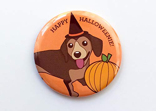 Cute Halloween Dachshund Fridge Magnet, Pin, or Pocket Mirror,