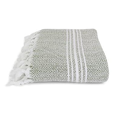 Organic, Incredibly Soft, Turkish Peshtemal Fouta Towel, 100% Cotton Herringbone for Spa Bath Pool Sauna Picnic Throw Blanket Pestemal (40 x70 , Green)