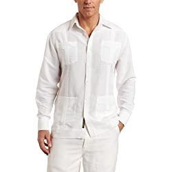 Cubavera Men's Long Sleeve Traditional Guayabera Shirt, Bright White, Medium