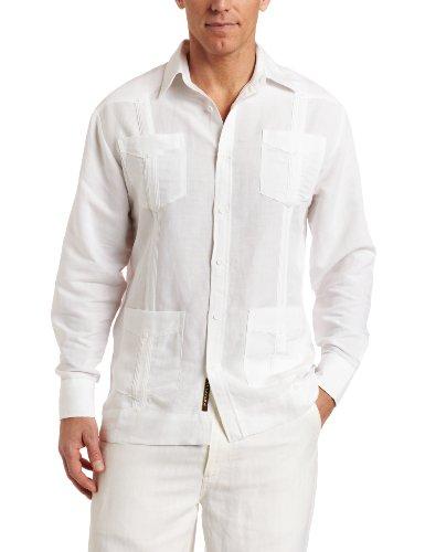 (Cubavera Men's Long Sleeve Traditional Guayabera Shirt, Bright White, Medium)
