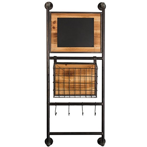 (Bookshelf Industrial Style Vintage Iron Cedar with Black Board Storage Racks Newspaper Basket Florist Wall Decoration Pendants Size: 1744103cm Wall Units Bookcases)