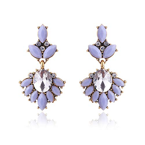 Luccaful 17colors Vintage Antique Golden Transparent Rhinestone Earrings For Women Bijoux Brincos Women's Christmas Gift 2019,grey
